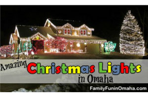 A house covered with Christmas lights with overlay text that reads Christmas Lights in Omaha