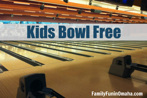 Bowling lanes with overlay text that reads Kids Bowl Free