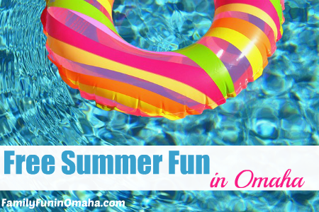 """A close up of a colorful float in a clear blue pool with overlay text that reads, \""""Free Summer Fun in Omaha.\"""""""