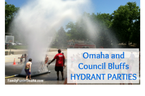 """Children playing in water with overlay text that reads, \""""Omaha and Council Bluffs Hydrant Parties.\"""""""