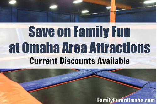 """A close up of trampolines with overlay text that reads, \""""Save on Family Fun Omaha Area Attractions, Current Discounts Available.\"""""""