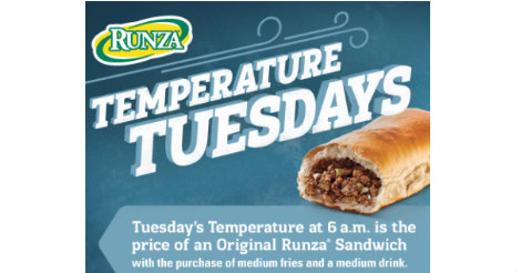 Buy Here Pay Here Omaha >> Runza Temperature Tuesdays | Family Fun in Omaha