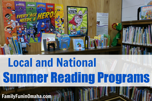 """A library shelf and wall with overlay text that reads, \"""" Local and National Summer Reading Programs.\"""""""