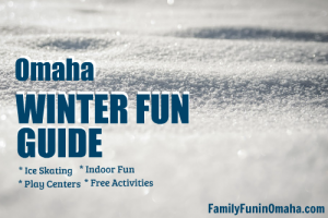 Close up of sparkling snow with overlay text that reads Omaha Winter Fun Guide