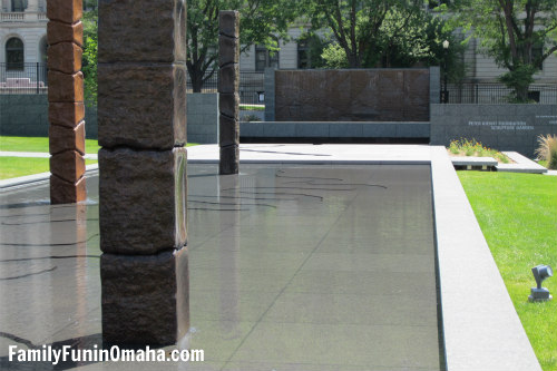 A water feature at Joslyn Sculpture Garden.
