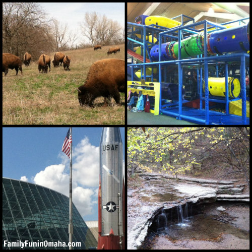 A collage of images of Wildlife Safari, Mohoney SAC Museum, and Platte River.