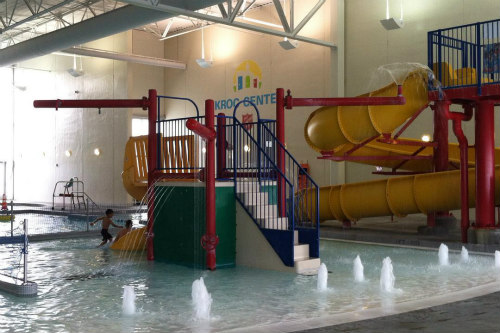A stair entrance to a waterslide at Omaha Kroc Center.