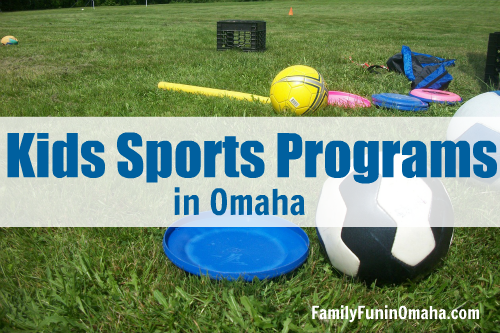 A grassy field with sports equipment and overlay text that reads, Kids Sports Programs in Omaha.