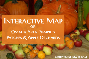 A group of fruit and gourds with overlay text that reads Interactive Map of Omaha Area Pumpkin Patches and Apple Orchards