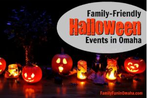 Jack o lanterns and candles in the dark with overlay text that reads Family Friendly Halloween Events in Omaha