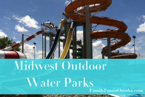 An outdoor water slide with overlay text that reads Midwest Outdoor Water Parks
