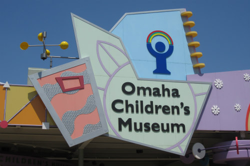 A close up of the Omaha Children\'s Museum sign.
