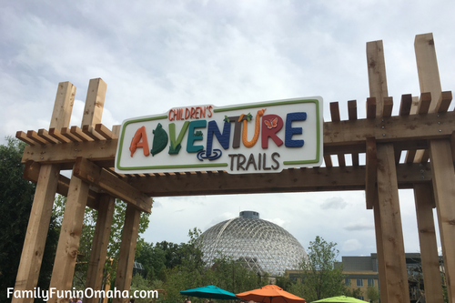 The entrance sign to the Children\'s Adventure Trails at the Omaha Zoo.
