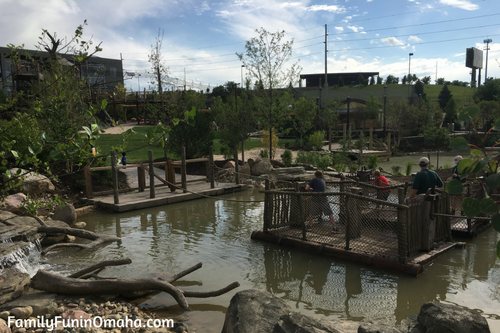 Guest platforms over water at Children\'s Adventure Trails at the Omaha Zoo.