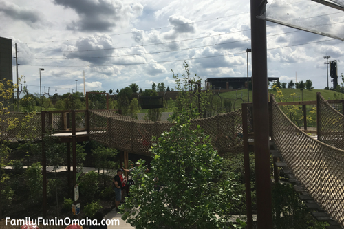 A rope bridge at Children\'s Adventure Trails at the Omaha Zoo.