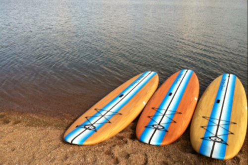Paddleboards on the shore of a beach.