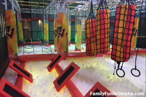 A close up of a obstacle course at Omaha\'s Urban Air Adventure.