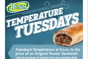 An advertisement for Runza Temperature Tuesday