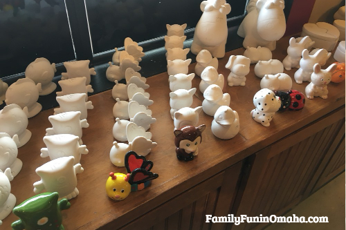 A display of unfinish pottery at It\'s Yours Pottery.