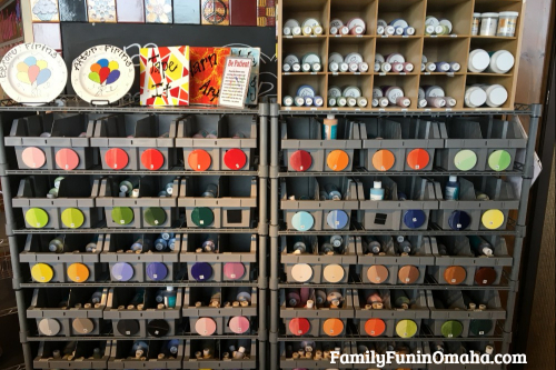 A display of painting supplies at It\'s Yours Pottery.