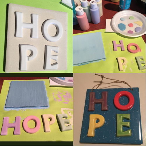A collage of process painting pictures at It\'s Yours Pottery.
