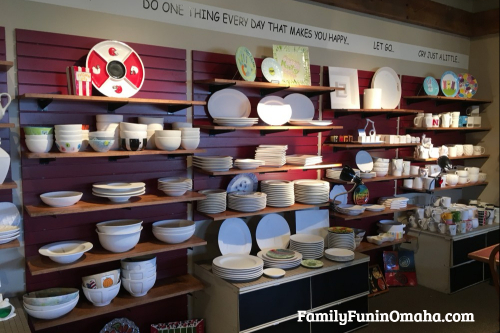 A display of unfinished pottery at It\'s Yours Pottery.