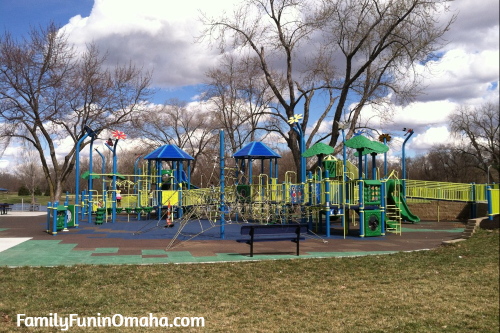 The large children\'s playground at Benson Park and Playground in the Omaha Area