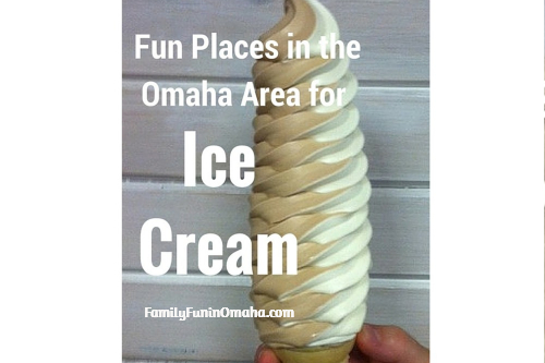"""A tall ice cream cone with overlay text that reads, \""""Omaha Area for Ice Cream.\"""""""