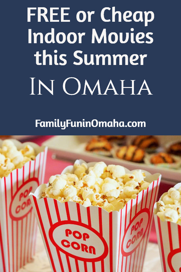 A close up of popcorn boxes with overlay text that reads, Free or Cheap Indoor Movies this Summer in Omaha.