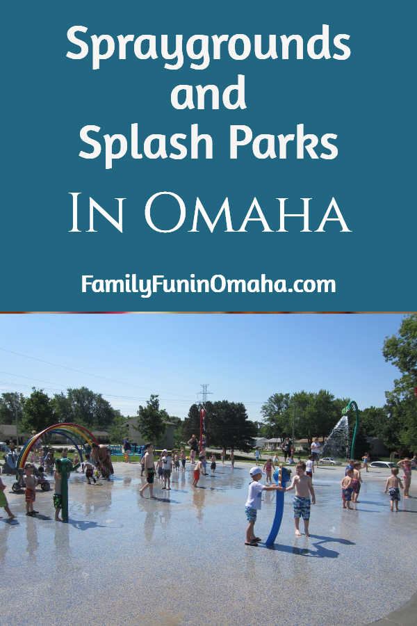 """A group of children playing at a water park with overlay text that reads, \""""Spraygrounds and Splash Parks in Omaha.\"""""""