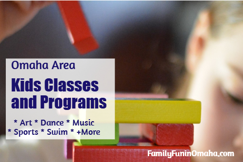 A close up of children\'s blocks with overlay text that reads, Kids Classes and Programs in Omaha.