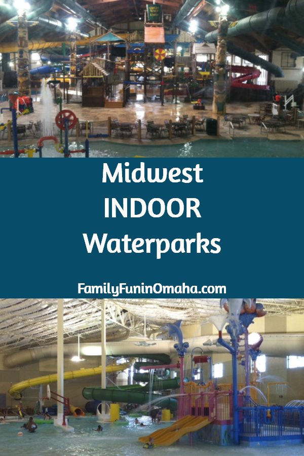 A collage of two indoor waterparks with overlay text that reads Midwest Indoor Waterparks