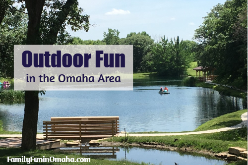 A park bench next to a lake with overlay text that reads Outdoor Fun in the Omaha Area