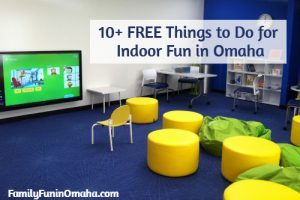 """A tv and lounge area at an indoor play center with overlay text that reads, \""""10+ Free Things to do Indoor Fun in Omaha.\"""""""