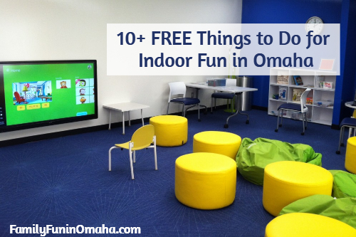 An indoor children\'s play area with overlay text that reads 10 plus free things to do, indoor fun in Omaha