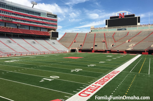 The empty seats and field at Lincoln Memorial Stadium.
