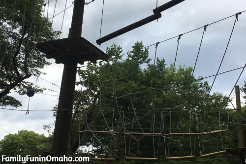 A view looking up at an obstacle at Tree Rush Adventures.