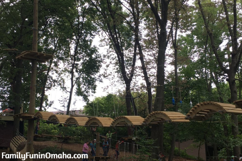 A wooden mounded walkway at Tree Rush Adventures.