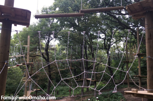 A close up of a spiderweb type climbing feature at Tree Rush Adventures.