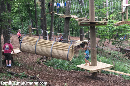 A person getting ready to start an obstacle at Tree Rush Adventures.