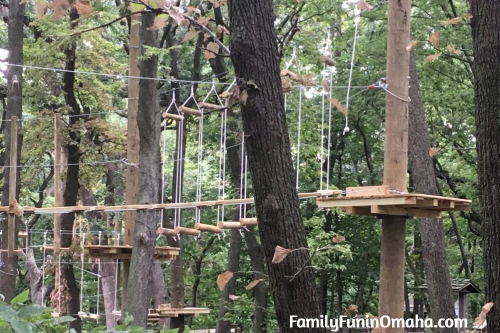 A climbing walkway at Tree Rush Adventures.