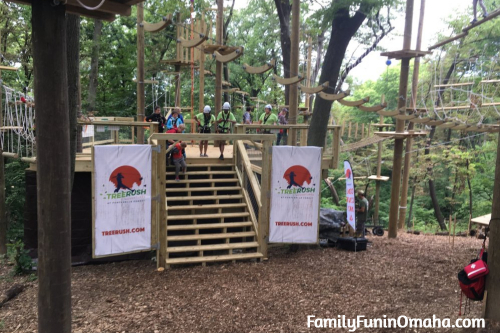 The entrance to a climbing obstacle course at Tree Rush Adventures.