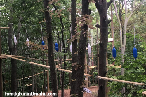 A climbing obstacle at Tree Rush Adventures.