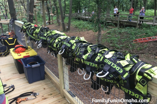 A group of climbing safety equipment at Tree Rush Adventures.