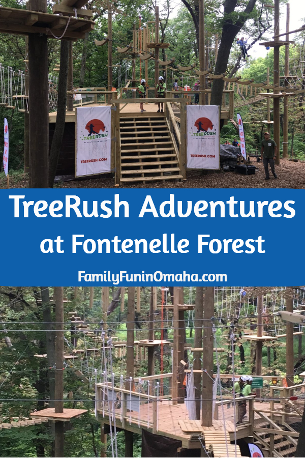 """A collage of pictures with overlay text that reads, \""""TreeRush Adventures at Fontenelle Forest.\"""""""