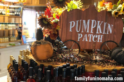 """A fall display with a sign that reads, \""""Pumpkin Patch\"""" at Arbor Day Farm."""