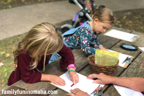 Girls coloring at Arbor Day Farm.
