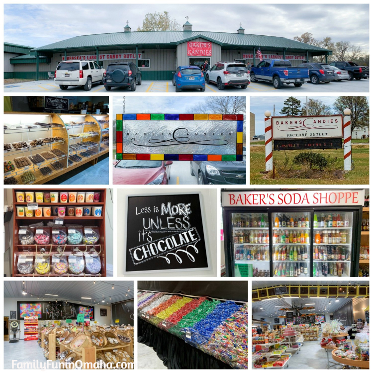 A collage of images of Baker\'s Candies.