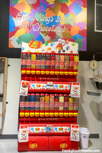 A Jelly Belly candy display at Baker\'s Candies.