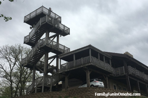 A building and viewing tower at Hitchcock Nature Center.